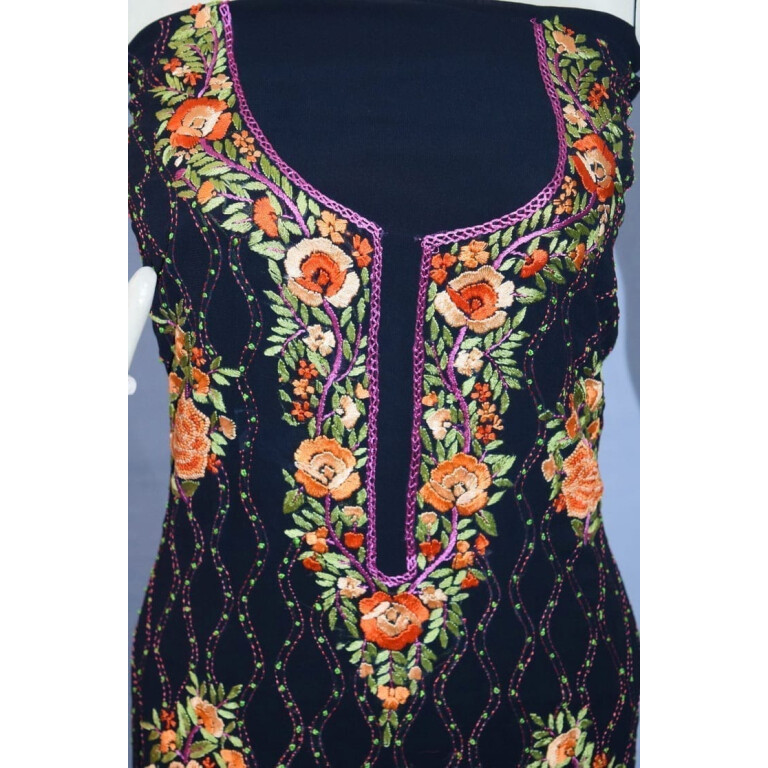 Jet Black GEORGETTE LONG Kurti Hand Embroidered Party Wear Unstitched Fabric K0398