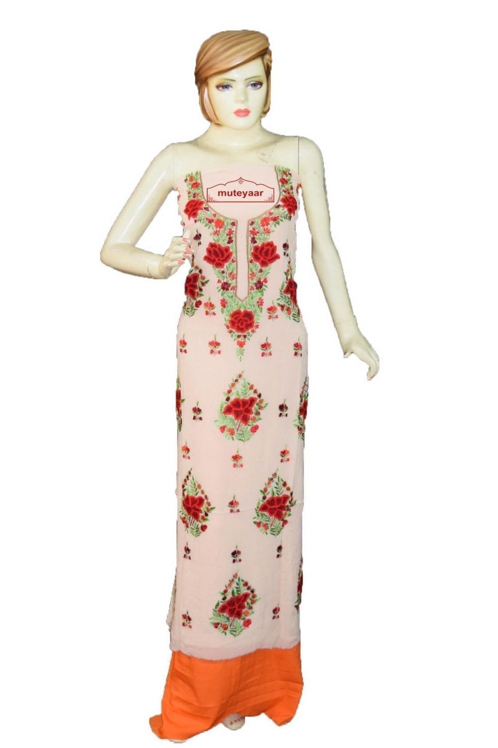 Cream GEORGETTE LONG Kurti Hand Embroidered Party Wear Unstitched Fabric K0399 1