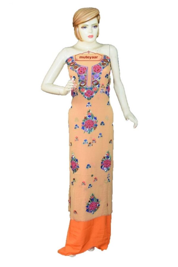 Fawn GEORGETTE LONG Kurti Hand Embroidered Party Wear Unstitched Fabric K0401
