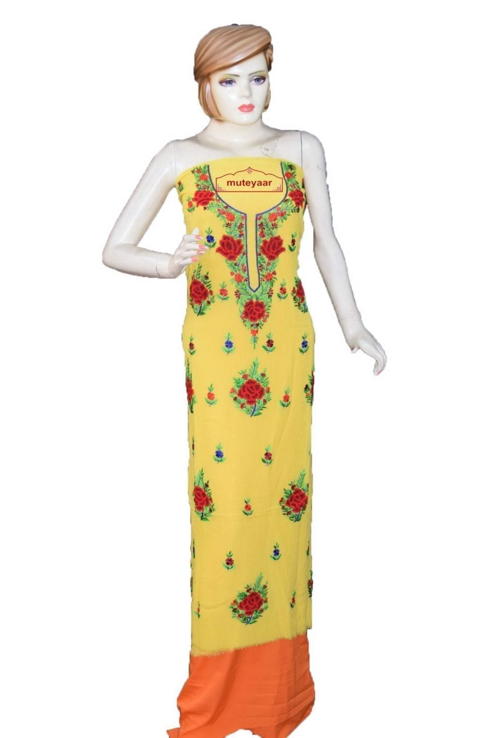yellow GEORGETTE LONG Kurti Hand Embroidered Party Wear Unstitched Fabric K0402 1