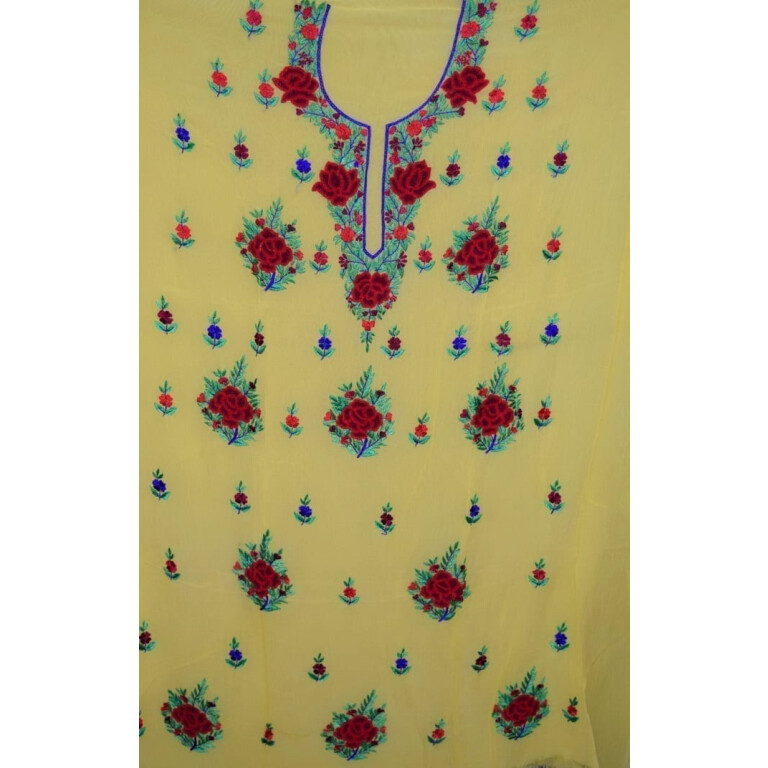 yellow GEORGETTE LONG Kurti Hand Embroidered Party Wear Unstitched Fabric K0402