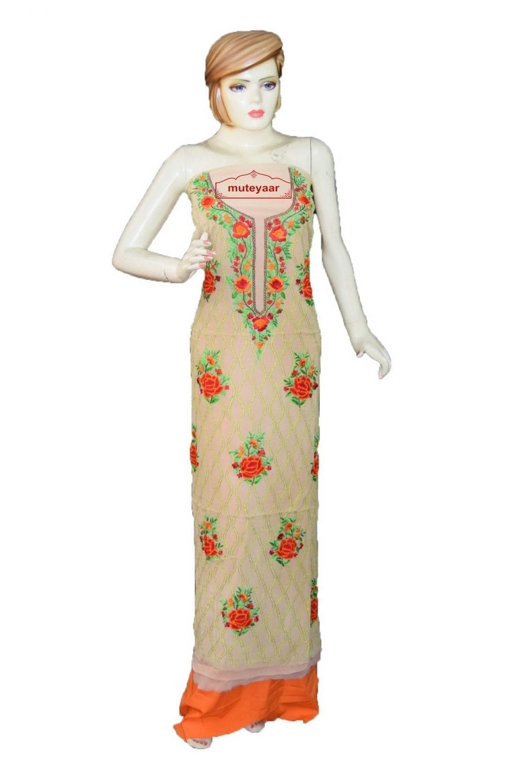 Golden Fawn GEORGETTE LONG Kurti Hand Embroidered Party Wear Unstitched Fabric K0403 1