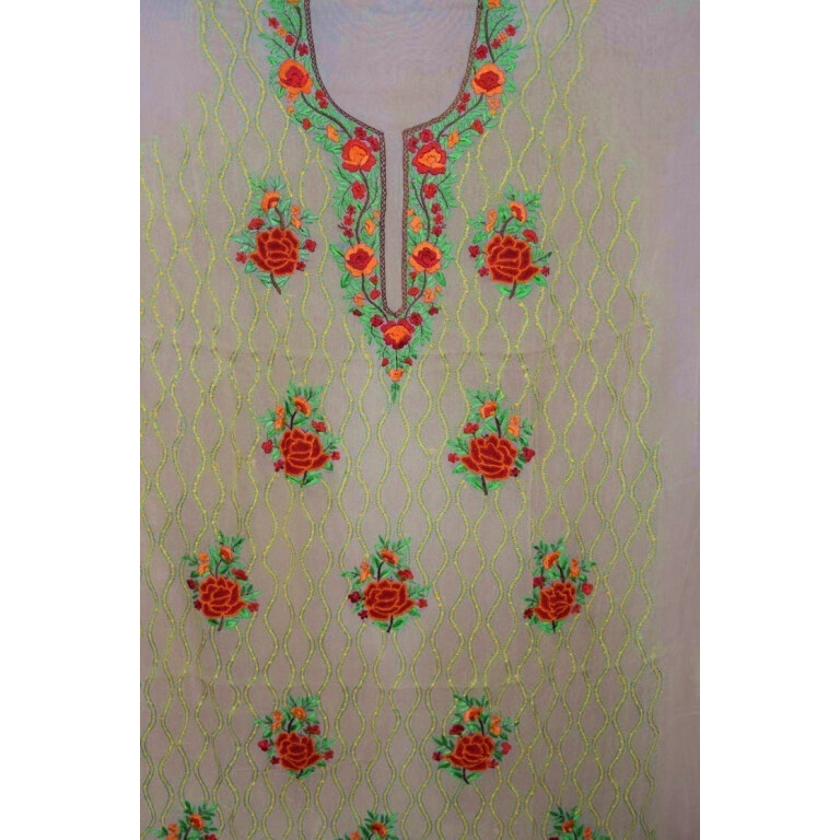 Golden Fawn GEORGETTE LONG Kurti Hand Embroidered Party Wear Unstitched Fabric K0403