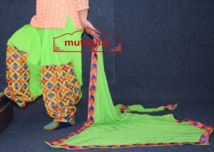 Parrot Green Phulkari Patiala Salwar with matching Faux Chifon Dupatta MPS05