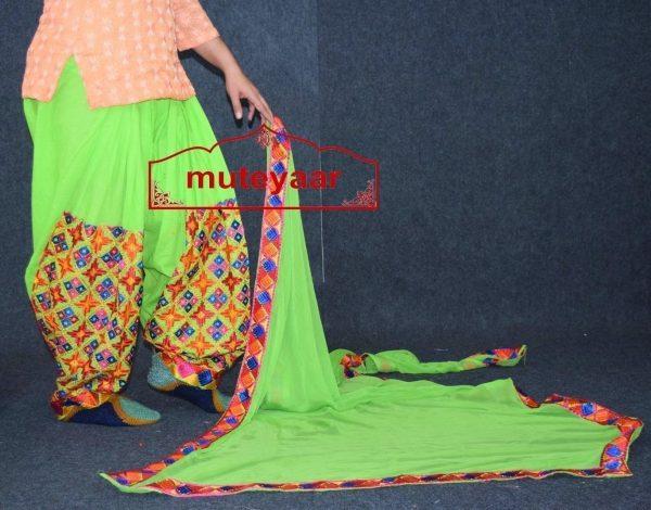 Parrot Green Phulkari Patiala Salwar with matching Faux Chifon Dupatta MPS05