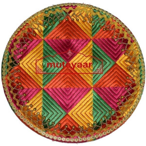 Shagun Thali / Shagan Thaal for Punjabi Wedding – Phulkari Embroidered Plate