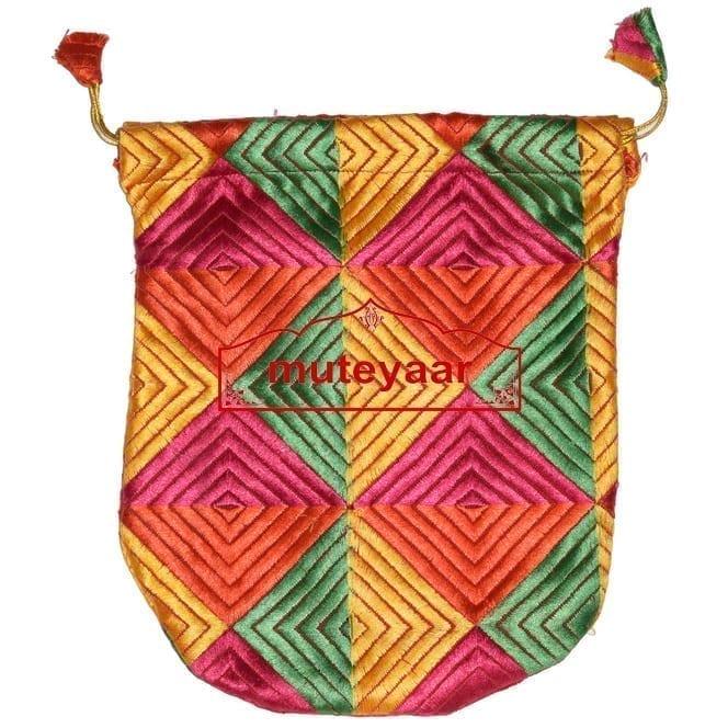 Shagun Thaili Pouch / Shagan Thaila for Punjabi Wedding - Phulkari Embroidered Bag 1