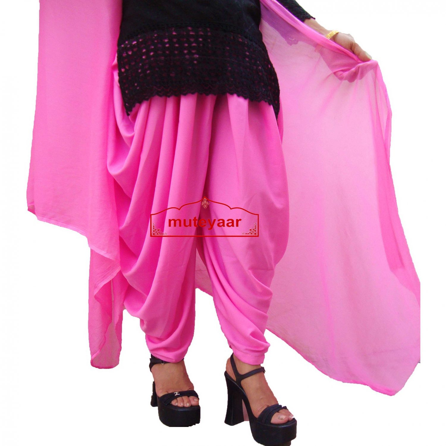 Crepe Dhoti Salwar with Chiffon Dupatta - All colours/sizes available 1
