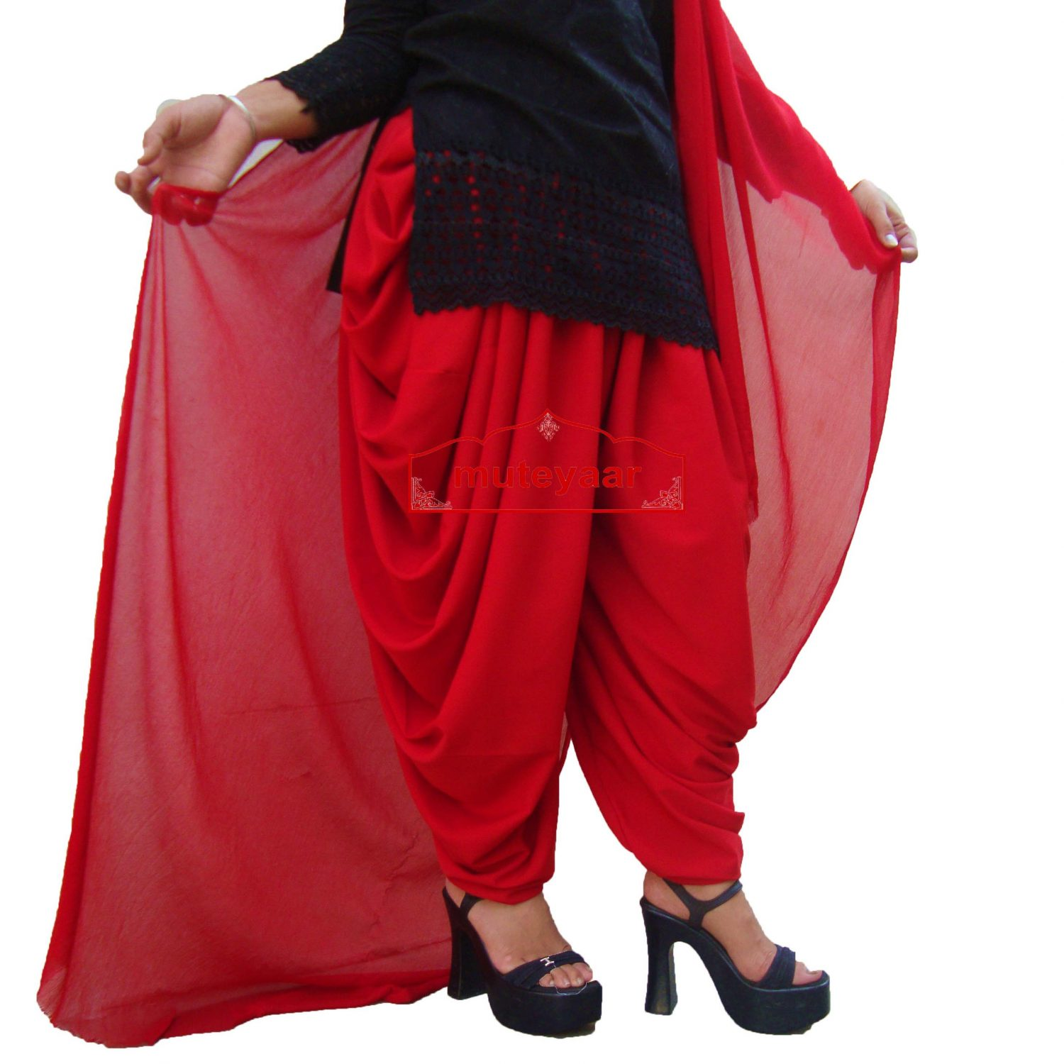 Crepe Dhoti Salwar with Chiffon Dupatta - All colours/sizes available 2