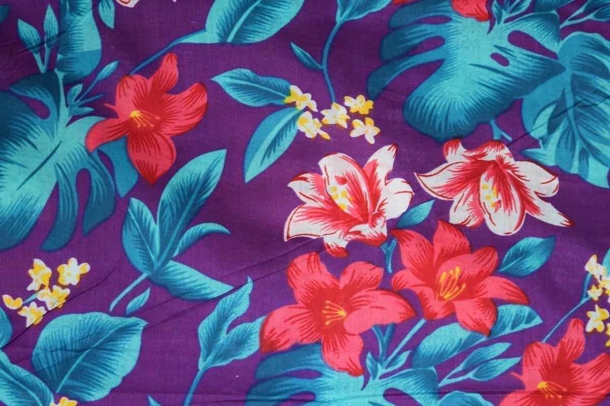 Purple Leaves & Flowers Design COTTON PRINTED FABRIC PC319 1