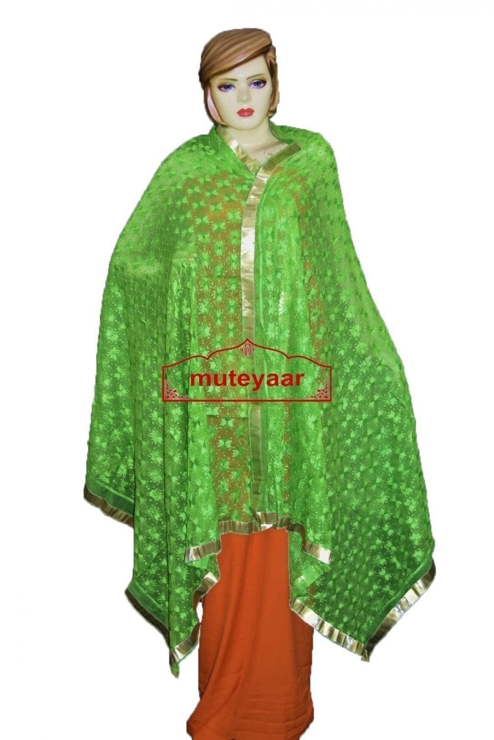 JAAL  PHULKARI Dupatta M/C Embroidered Party wear FAUX CHIFFON Chunni (PHD) 2
