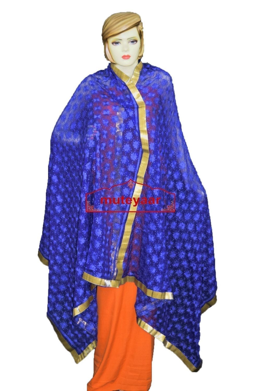 JAAL  PHULKARI Dupatta M/C Embroidered Party wear FAUX CHIFFON Chunni (PHD) 3