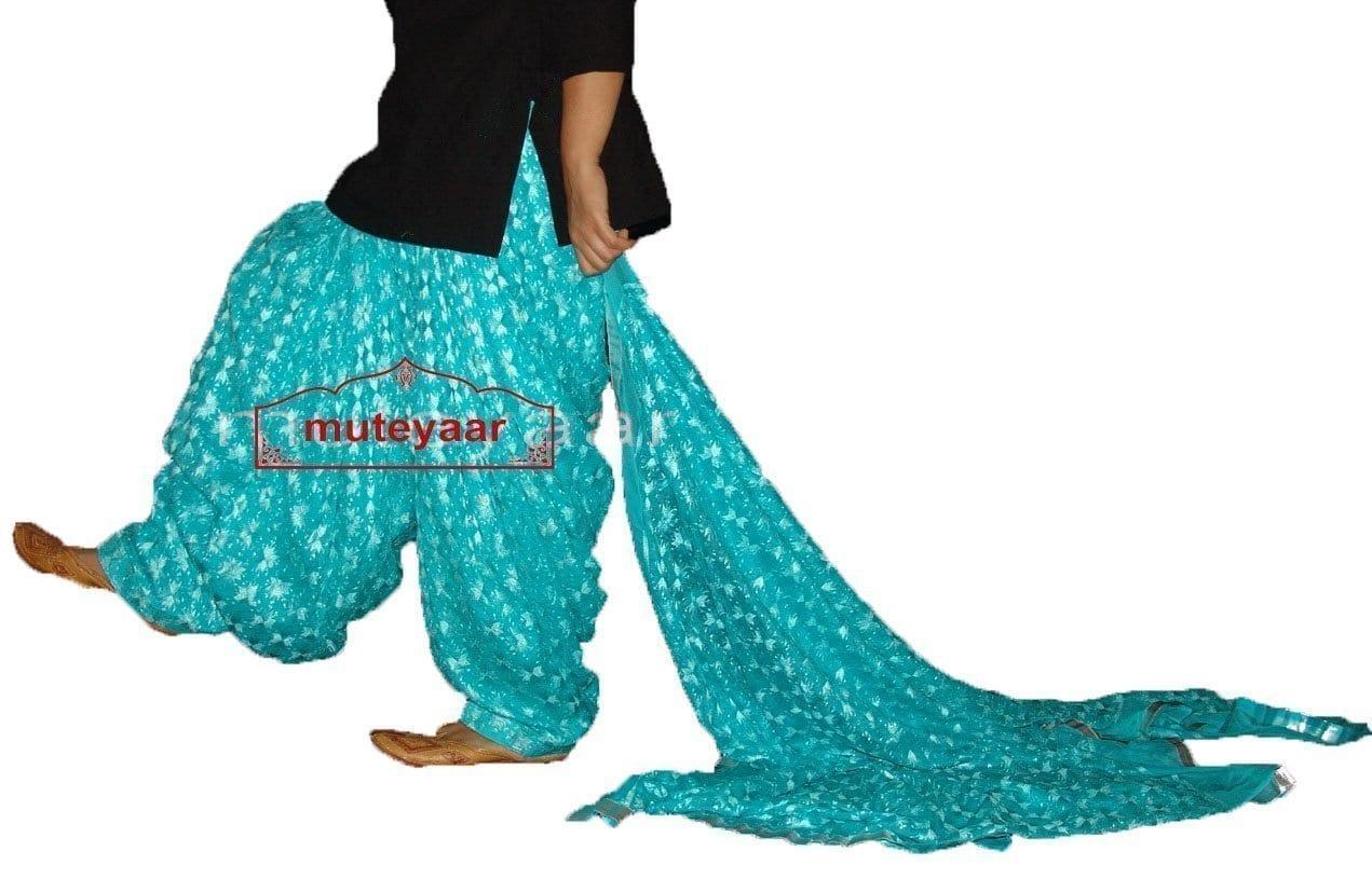 Light Blue Phulkari Patiala Salwar Dupatta PHS16 1
