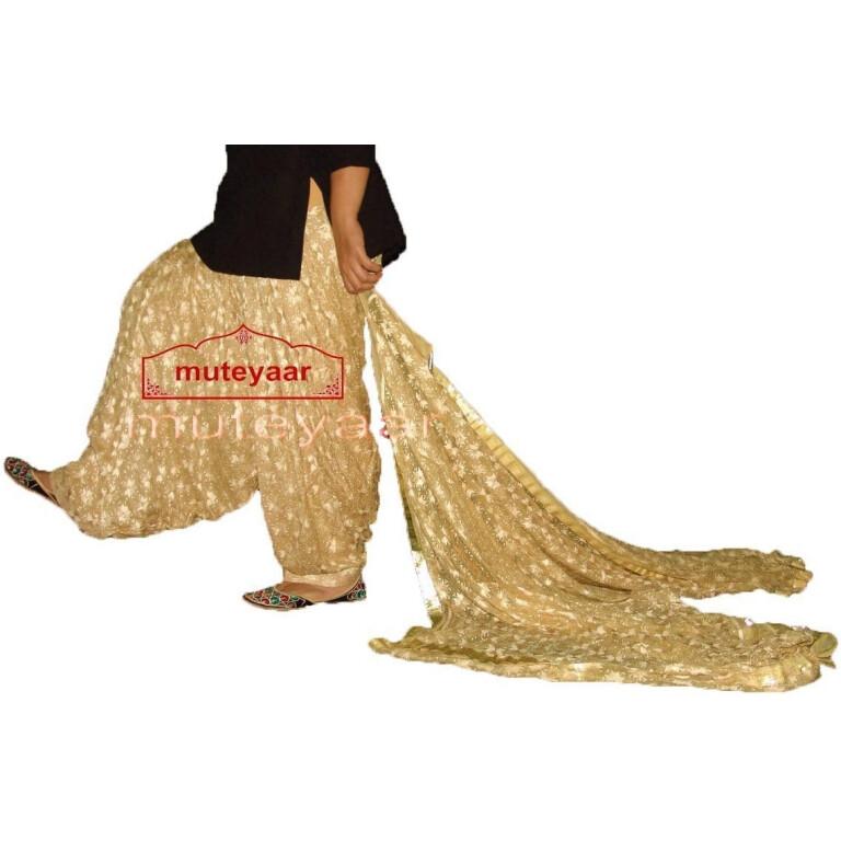 Golden Fawn PHULKARI Patiala Salwar with matching Dupatta PHS17