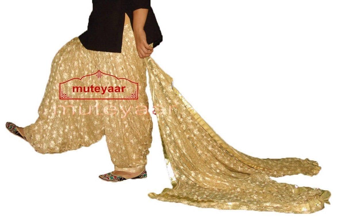 Golden Fawn Phulkari Patiala Salwar with matching Dupatta PHS17 1