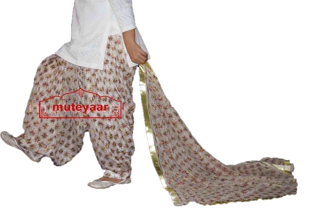 Custom Stitched PHULKARI Patiala Salwar with matching Dupatta PHS24 1