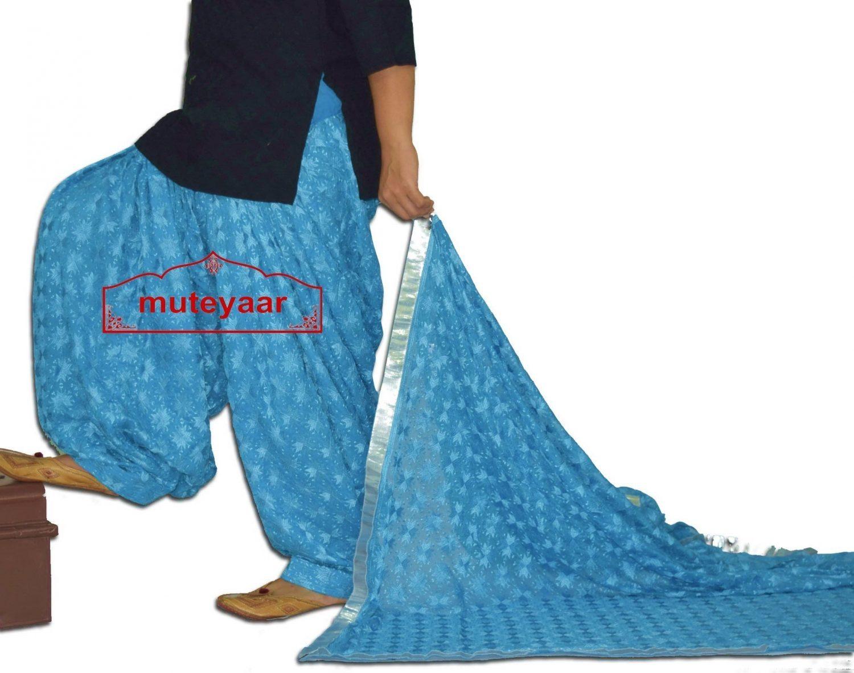 Firozi Turquoise PHULKARI Embroidered Patiala Salwar with matching Dupatta PHS25 1
