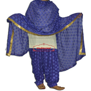 Royal Blue PHULKARI Embroidered Patiala Salwar with matching Dupatta PHS26