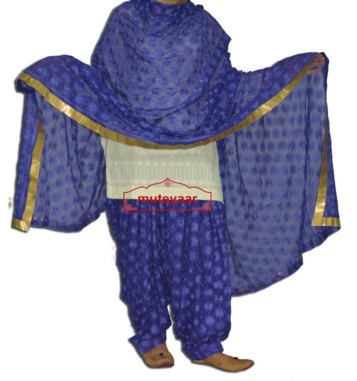 Royal Blue PHULKARI Embroidered Patiala Salwar with matching Dupatta PHS26 1