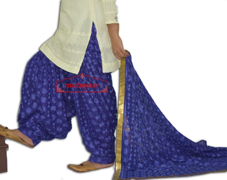 Royal Blue PHULKARI Embroidered Patiala Salwar with matching Dupatta PHS26 2
