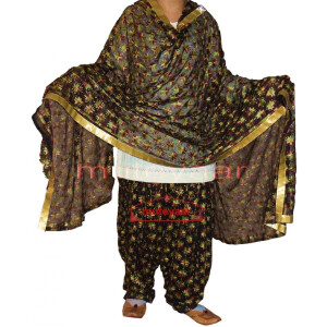 Multicolour Black Phulkari Patiala Salwar with matching Dupatta PHS27