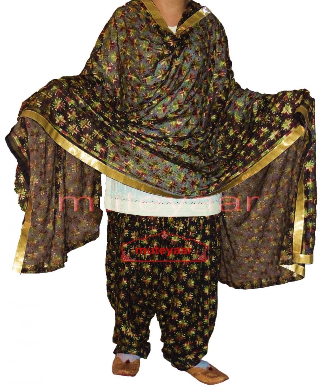 Multicolour Black Phulkari Patiala Salwar with matching Dupatta PHS27 1