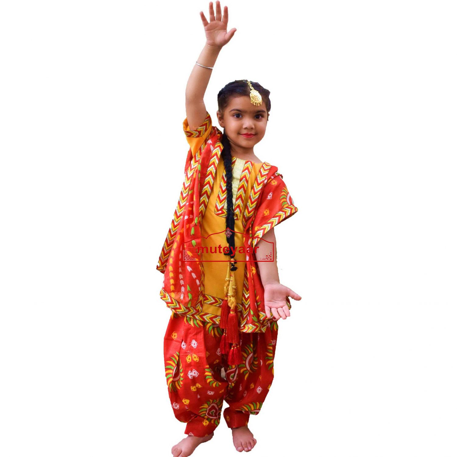 Kids Bhangra Costume outfit dance dress with Accesories - Custom made 1
