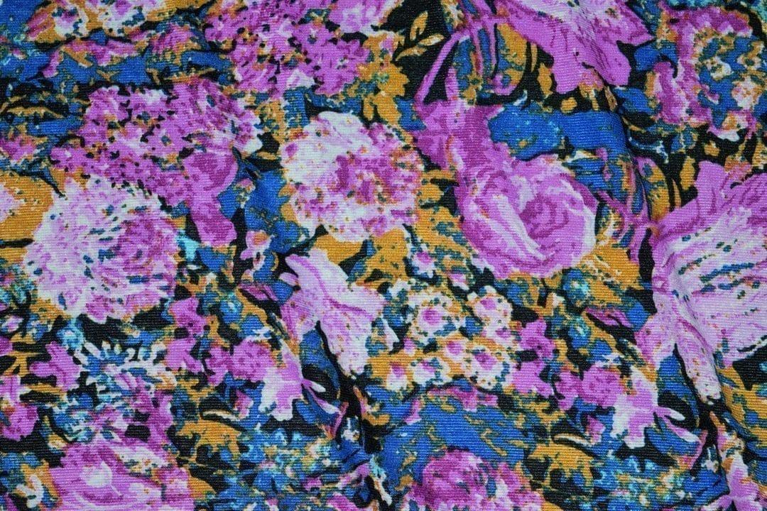 Hosiery Fabric 65 inch width Purple Flowers Print HF002 1