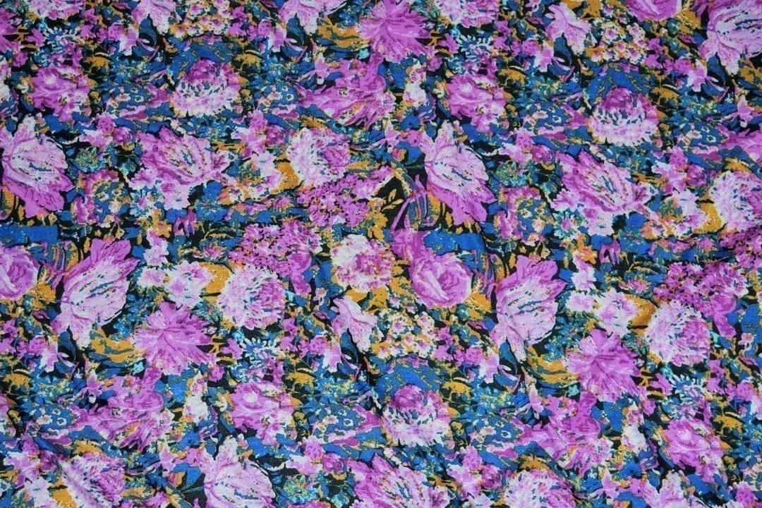 Hosiery Fabric 65 inch width Purple Flowers Print HF002 2