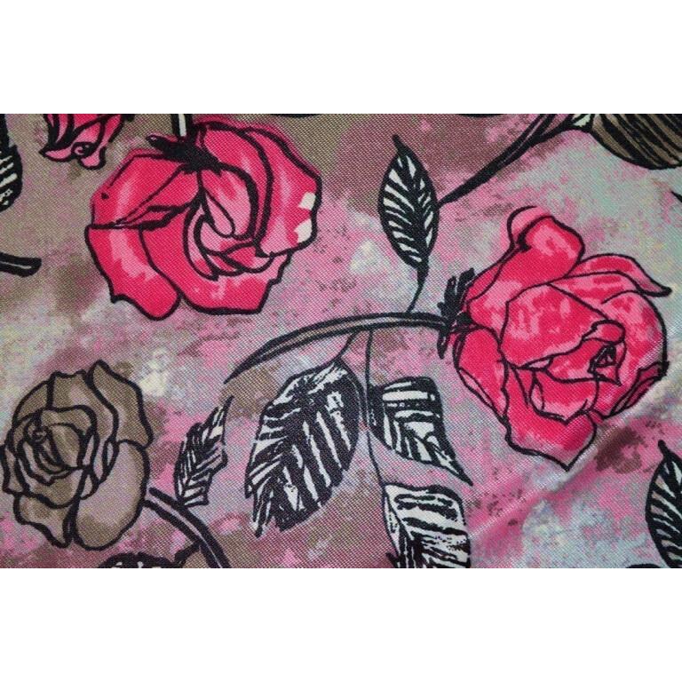 Hosiery Fabric 65 inch width Magenta Flowers Print (per meter price)  HF005