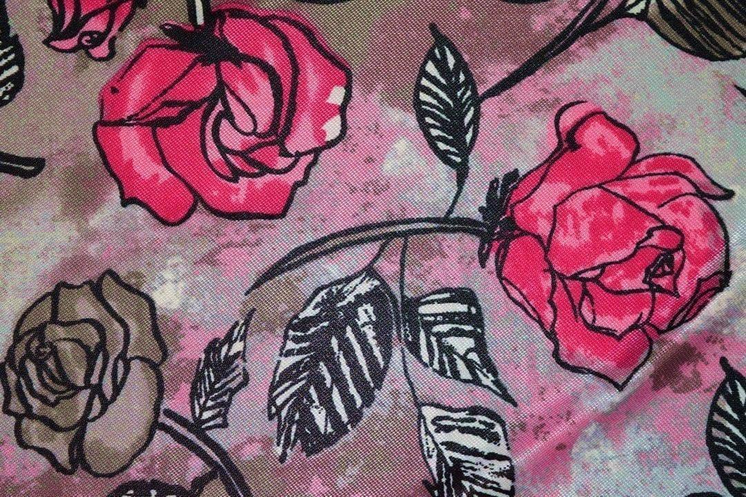 Hosiery Fabric 65 inch width Magenta Flowers Print HF005 1