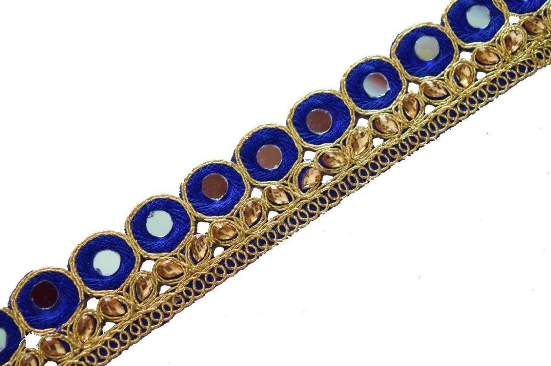 Mirror Kundan Lace 1.5 Inch Wide Designer Embroidered Kinari (per meter price) LC120 2
