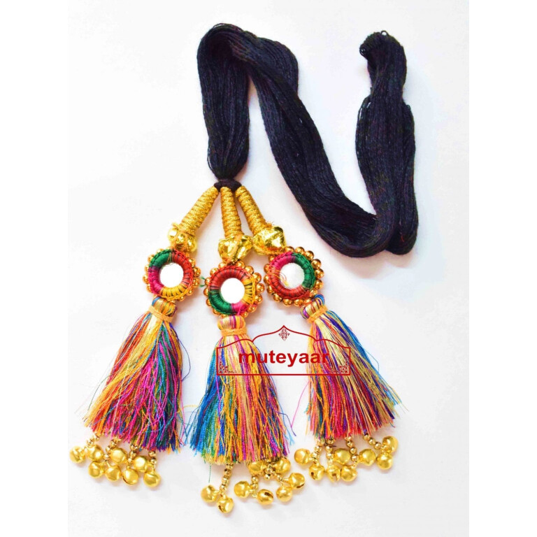 Multi Colour Kids Paranda Parandi with Mirror & Ghungroo Work