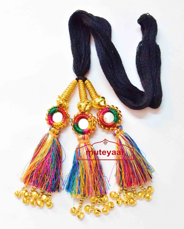 Multi Colour Kids Paranda Parandi with Mirror & Ghungroo Work 1