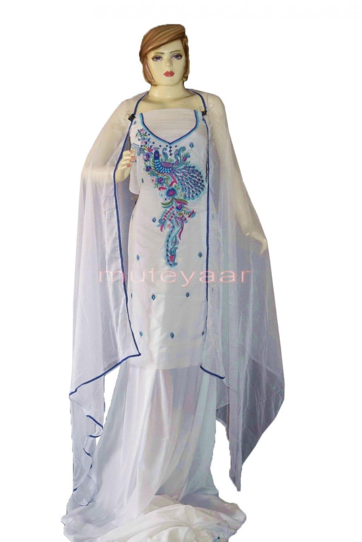PEACOCK DESIGN Embroidered  White Crepe Salwar Kameez  Dupatta Suit 1