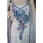 PEACOCK DESIGN Embroidered Suit White Salwar Kameez Dupatta Set