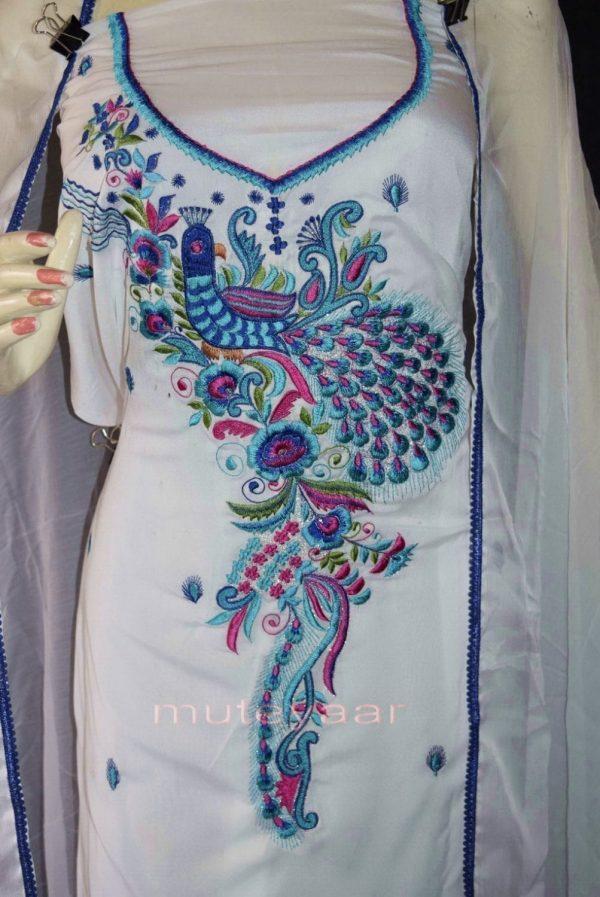 PEACOCK DESIGN Embroidered  White Crepe Salwar Kameez  Dupatta Suit
