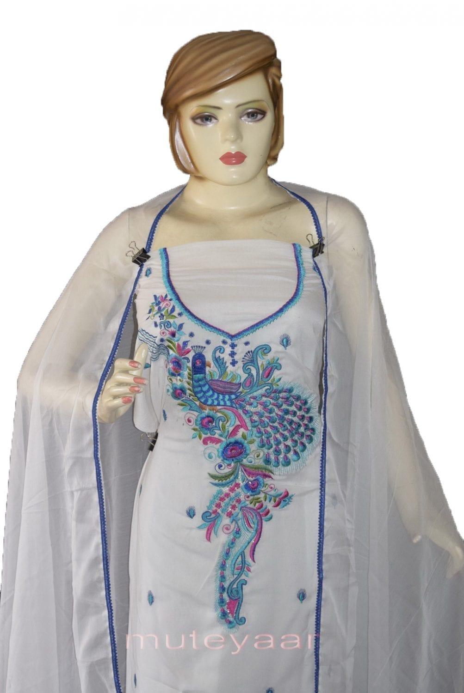PEACOCK DESIGN Embroidered Suit White Salwar Kameez Dupatta Set 3