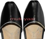 Silver Line Black Handmade Leather Punjabi Jutti Shoes for MEN PJ9741