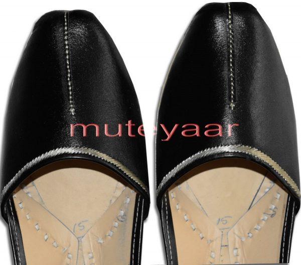 Silver Line Black Handmade Leather Punjabi Jutti Shoes for MEN PJ9741