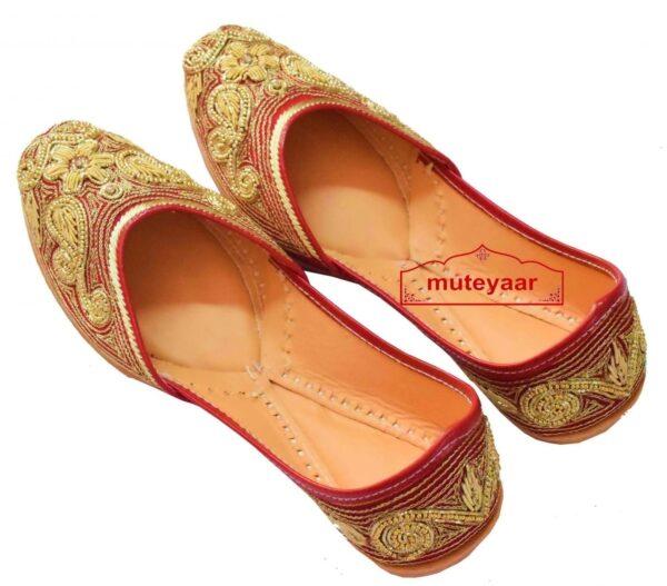 Red Bridal Punjabi Jutti Dabka Work Wedding Party wear Shoes PJ9796