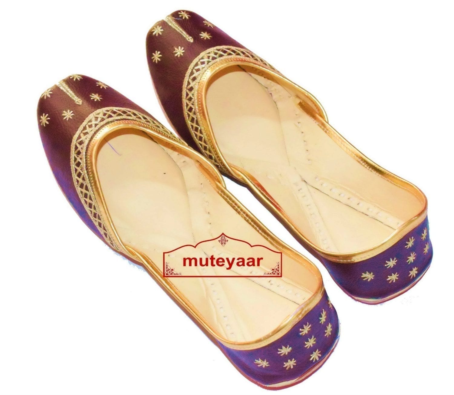Chocolate Brown Punjabi Jutti Gota Patti Work Party wear Shoes PJ9797 1