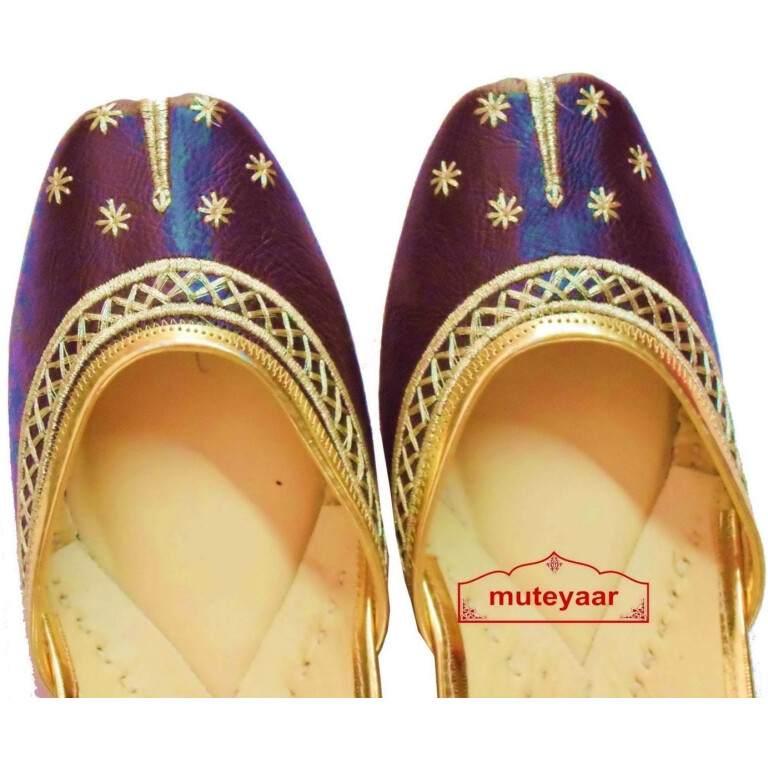 Chocolate Brown Punjabi Jutti Gota Patti Work Party wear Shoes PJ9797