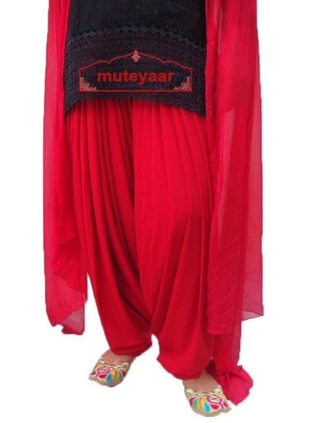 RED Patiala Dupatta set from Patiala City- custom stitched 1