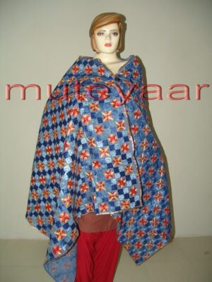 Phulkari Bagh Heavy Embroidered multicolor dupatta D0694