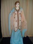 Peach /sky Cotton Sherwani Full Patiala salwar suit F0296