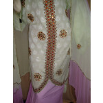Light Green/mauve Cotton Sherwani Full Patiala salwar suit F0326