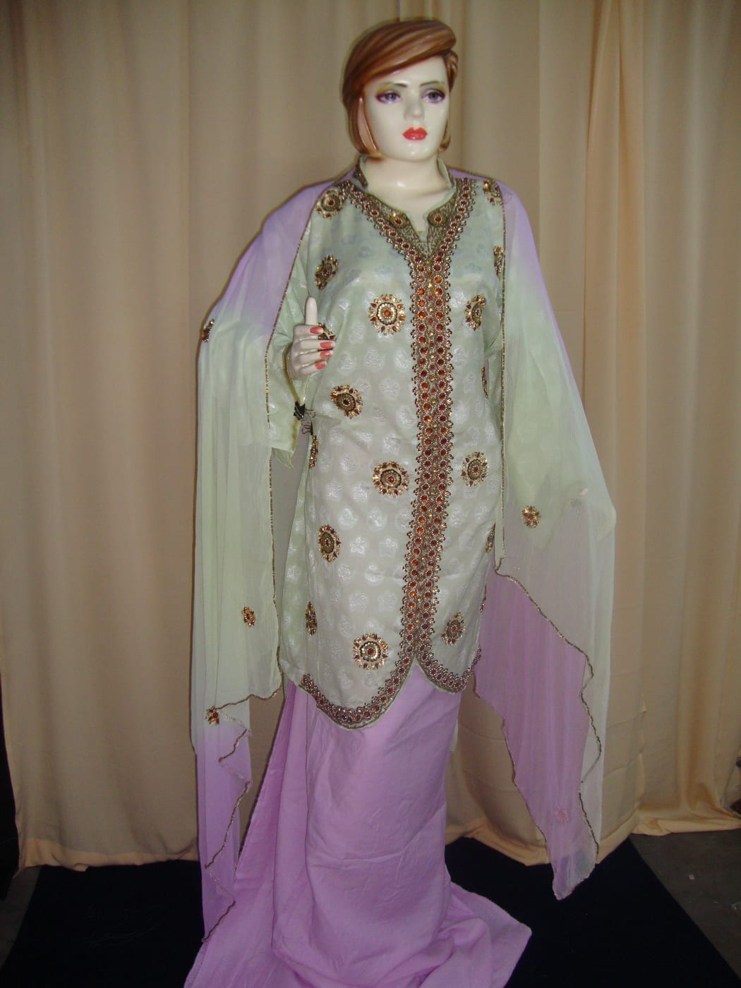 Light Green/mauve Cotton Sherwani Full Patiala salwar suit F0326 2
