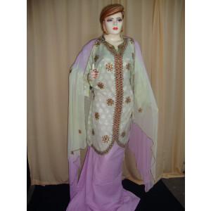 L green/mauve Cotton Sherwani Full Patiala salwar suit F0330