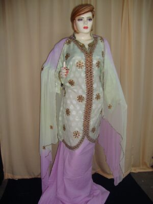 L green/mauve Cotton Sherwani Full Patiala salwar suit F0330